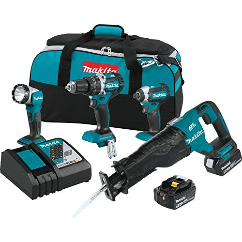 MAKITA XT447T 18V LXT Lithium-Ion Brushless Cordless 4-Piece Tool Combo Kit (Renewed)
