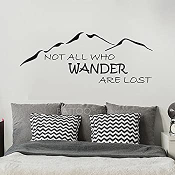 BATTOO Adventure Awaits Wall Decal Stickers Black, 50WX25.5H Wanderlust Wall Decal 50WX25.5H Adventure Quotes Travel Theme Wall Decor Mountain Wall Decal Bedroom Decor