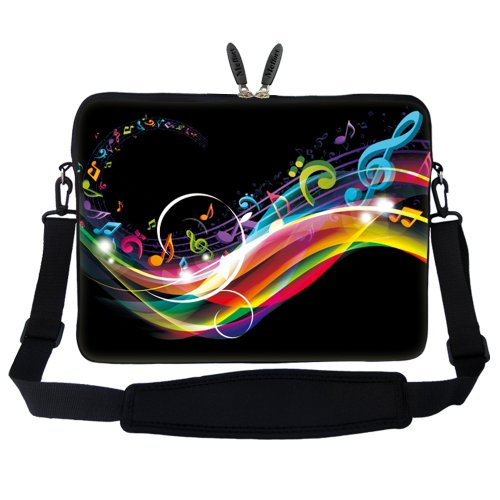 Meffort Inc 15 15.6 inch Neoprene Laptop Sleeve Bag Carrying Case with Hidden Handle and Adjustable Shoulder Strap - Rainbow Music Note