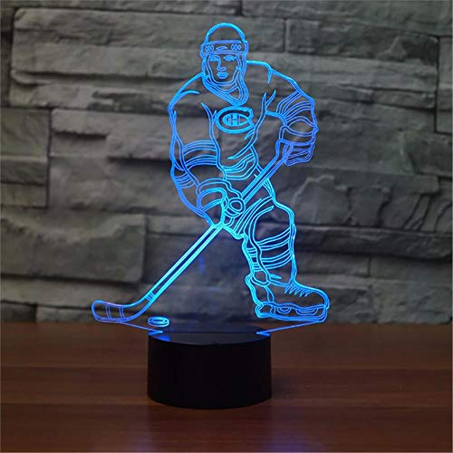 LBJZD 3D Night Light Ice Hockey Player 3D Led Lamp 7 Colors Changing Acrylic Night Light for Kids Bedside Lamp Canadiens Fans Gift Black Base with Remote Control
