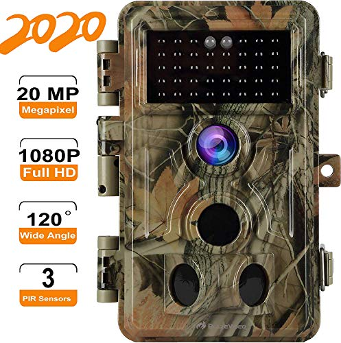 [2020 Upgrade]2-Pack Game Trail Deer Cameras 20MP Full HD 1080P Video with Night Vision Motion Activated Waterproof No Glow Infrared Camo Wildlife...
