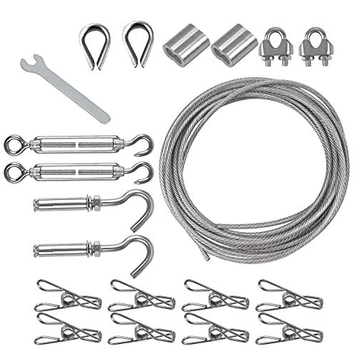 Juego de Cables de Acero, Cuerda Acero Suspensión, Tensores Para Cables con Pernos de Expansión, Abrazadera para Cables Mangas de Aluminio, Guardacabos Llave Inglesa, 19 Pieza en Total
