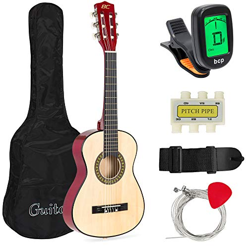 Best Choice Products 30in Kids Acoustic Guitar Beginner Starter Kit with Electric Tuner, Strap, Case, Strings - Natural