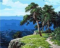 LovetheFamily 青い海と木々 数字キットによる絵画 デジタル番号油絵 番号キット塗り絵 手塗り DIYナンバリング絵 デジタル油絵 ホーム オフィス装飾 (40x50cm, フレームレス)