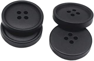 YaHoGa 50pcs Large Black Buttons 1 Inch 25mm Resin Buttons for DIY Sewing Tailor Crafts Coats Clothes (25MM)
