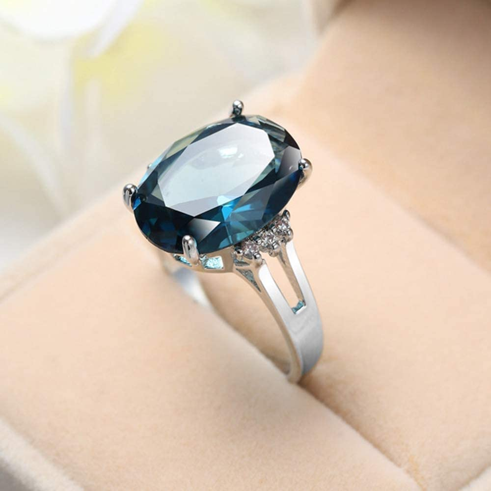 Jude Jewelers Rhodium Plated Huge Chunky Blue Crystal Wedding Engagement Cocktail Party Statement Ring