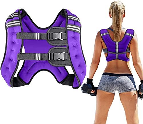 Prodigen Running Weight Vest for Men Women Kids 8 Lbs, Body Weight Vests for Training Workout, Jogging, Cardio, Walking, Elite Adjustable Weighted Vest Workout Equipment-Purple,8lbs