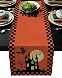 Cotten Line Table Runner Happy Halloween Castle with Pumpkin Decorative Tablecloth for Halloween, Non-Slip Runners Dinner Parties and Scary Movie Nights, Orange Plaid Check 13x70 inches