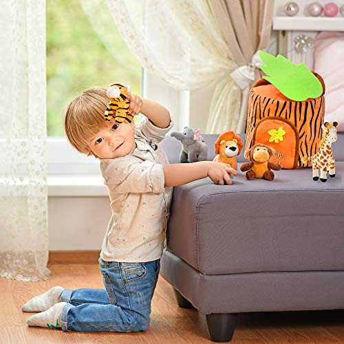 Plush Jungle Animals Toy Set + Carrier + e-Book | Realistic Sounds & Improved Design for Babies & Toddlers | Stuffed Giraffe, Elephant, Monkey, Tiger, Lion & Animal House + e-Book