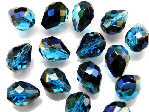#VALUE! 10 Stück Tschechische Facettierten Glasperlen Fire-Polished Pear Shaped 10x13 mm Blue AB