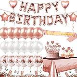 iZoeL Decorazioni Compleanno Rose Oro, Happy Birthday Festone Di Compleanno Cintura, Torta Topper, Coriandoli Palloncini, Tovaglia, Matrimonio Femminile Compleanno