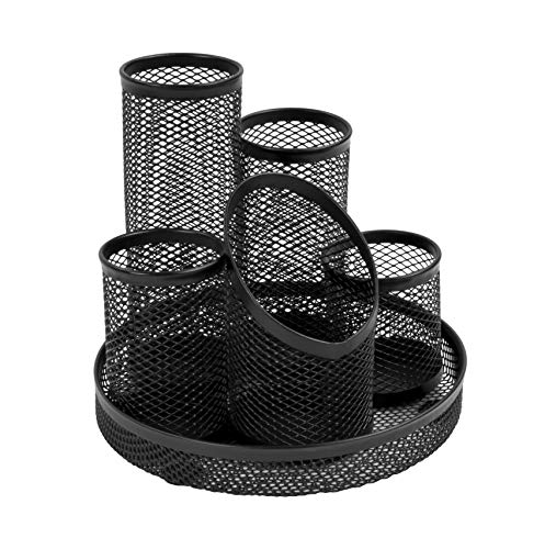 Osco DT5-BLK - Portalápices con 5 tubos de malla metálica, color negro