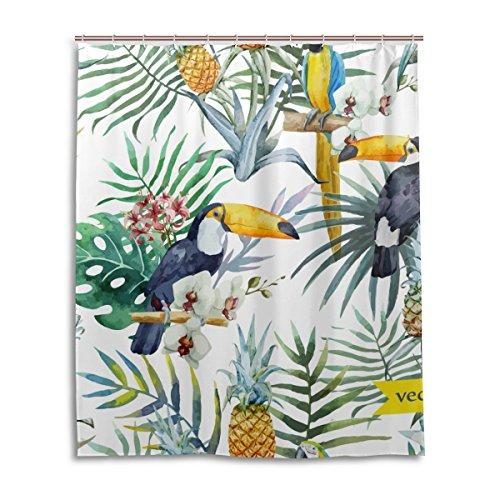 JSTEL Rideau de douche décoratif - Motif forêt tropicale - Motif flamants roses - 100 % polyester - 152 x 183 cm - Pour la maison, la salle de bain