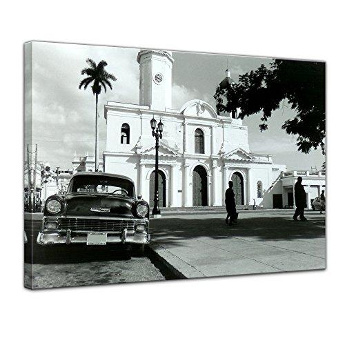 Bilderdepot24 Bild auf Leinwand | Oldtimer - Kuba in 80x60 cm als Wandbild | Wand-deko Dekoration Wohnung modern Bilder | 16082