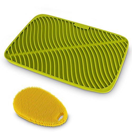 Belmalia Alfombrilla Escurreplatos Silicona + Esponja Ergonómica Silicona, Forma Olas, Tamaño Máximo: 44x32x1cm, Verde