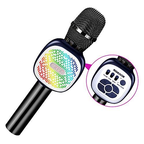 SGODDE Drahtloses Bluetooth Mikrofon für Kinder,Tanzen LED Lichter,Tragbares Microphon mit KTV Lautsprecher Recorder für Erwachsene und Kinder,für Geschenk/Sprach/Party,für Android/IOS, PC