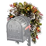 National Tree 3 Foot Wintry Pine Collection Mailbox Swag with Cones, Red Berries, Snowflakes and 15 Battery Operated Soft White LED Lights (WP1-300-3MB-1)