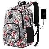 YAMTION Zaino Ragazza 15.6 Pollici Zaino Donna per Laptop con Porta USB Ufficio Scuola Viaggio Impermeabile (15,6 Pollici, B6-Fiore Grigio)