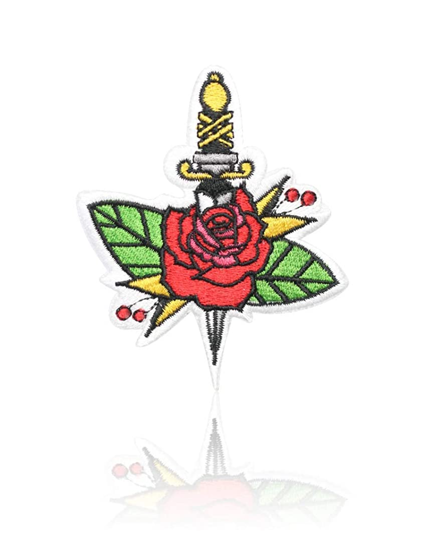 Rose Sword Patch Iron on & Sew on Bittersweet Dagger Embroidered Applique Decoration DIY Craft for Tshirts, Denim Jackets, Hats, Bags