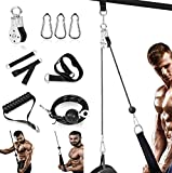 Fitness Pulley System Gym LAT Pull Down Machine, LAT and Lift Pulley Cable System 70'' for Arm Strength Training, Triceps Pull Down, Biceps Curl, Back, Forearm - Home Gym Exercise Attachments