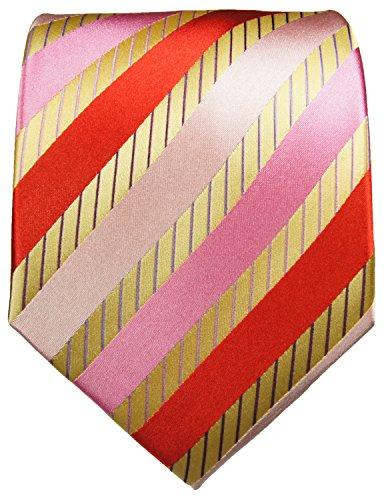 Cravate homme or rouge rose rayée ensemble de cravate 3 Pièces ( longueur 165cm )