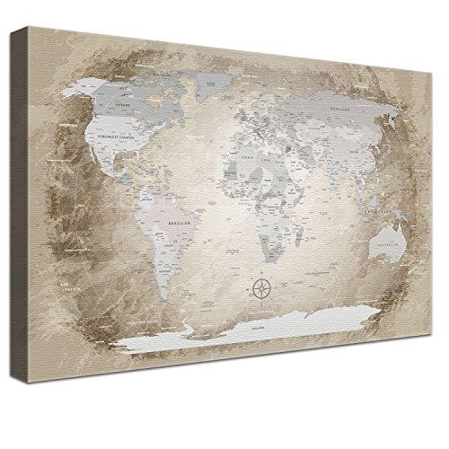 """LanaKK – Weltkarte Ausführung – """"Worldmap Beige"""" - deutsch - Kunstdruck-Pinnwand auf 4cm Echtholz-Keilrahmen – Globus in braun, einteilig & fertig gerahmt in 100x70cm"""