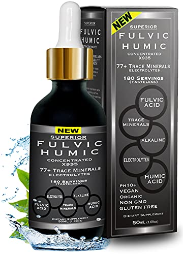 Fulvic Acid and Humic Acid Trace Mineral Drops 6 Month Supply, Electrolyte Energy Boost. All Natural Organic Plant Derived Blend of Ionic Trace Minerals from Fulvic and Humic Acid Similar to Shilajit