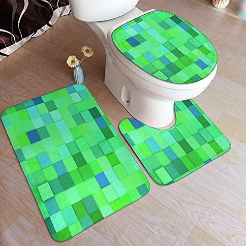 JOSENI 3 Piezas Juego de Alfombras de Baño,Mosaico de Cubo 3D Abstracto Verde Azulado de Cuadrados,Alfombra de Baño Suave + Alfombra Contour en Forma de U + Tapa de Inodoro