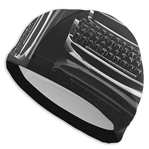 HFHY Dark Typewriter Cool Swim Cap Durable Elasticity Swimming Cap Respirant Fit Both Long Hair Hair Short Hair for Woman Girls Men Kids