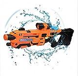 Pistolet à Eau Pistolet à Eau pour Enfants Télécommande Super Soak Gunner Enfant Adulte Pistolet à Eau Puissant Piscine Jouet Été en Plein air Combat en Eau, Cadeau Garçon Fille (Orange)