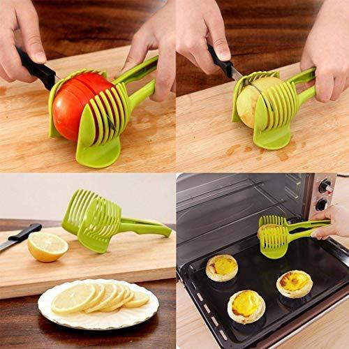 Vansoon Cortadoras de tomate de limón de mano, multiusos de cocina Frutas pinzas para alimentos Cortador de máquina de cortar vegetal Patatas Cebolla Titular Fácil de Circular rebanar