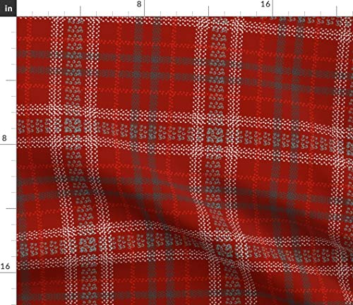 Spoonflower Fabric - Mountain Bike Tracks Plaid Cranberry Teal Red Home Decor Bicycle Printed on Modern Jersey Fabric by The Metre Fashion Apparel Clothing with 4-Way Stretch
