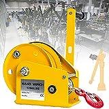 ZPCSAWA Cabrestante Manual, 500 Kg / 1200 Ibs Cabrestante/cabrestante/polipasto Manual, Cabrestante Manual con Cable de 15m (Size : 8m)