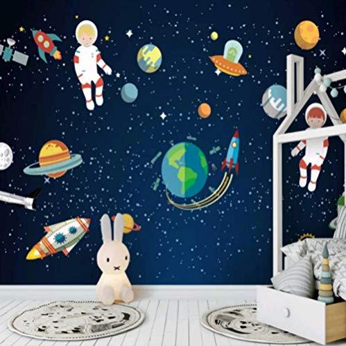 HUATULAI muurschildering 3D achtergrond sterrenhemel universum astronaut vliegtuig universum kinderkamer achtergrondbeeld technologie museum behang muurschildering 350 x 245 cm (b x h).