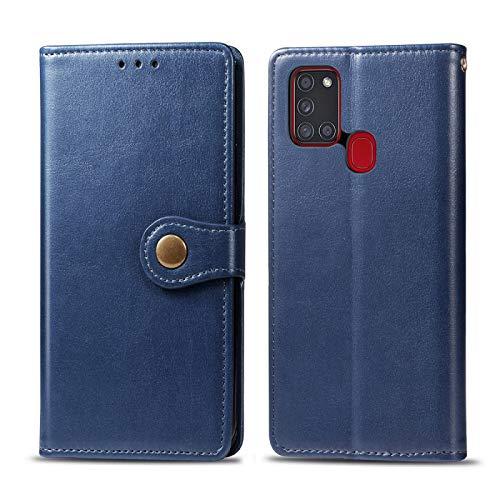 GBHGBH ES Para Samsung Compatible con Galaxy A21S Retro sólido Color de Piel Caja del teléfono de Hebilla con Correa y Marco de la Foto y la Tarjeta de Ranura y Monedero y Soporte de Funciones