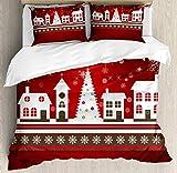 Juego de funda nórdica navideña, tema de vacaciones de invierno Casa de pan de jengibre con estampado de árboles y copos de nieve, juego de cama decorativo de 3 piezas con 2 fundas de almohada, blanco