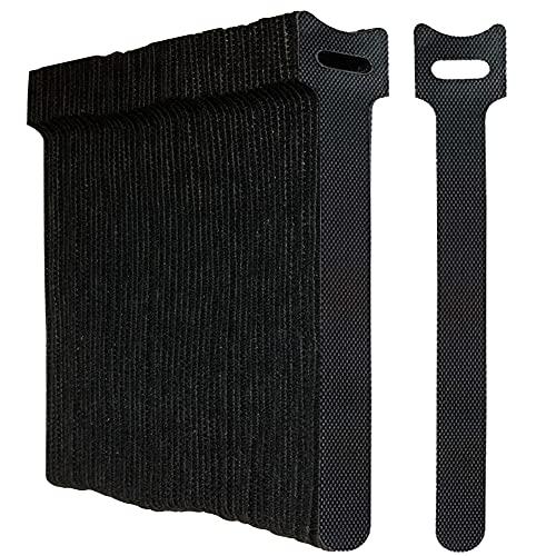Oksdown Paquete de 50 correas reutilizables de color negro con gancho de extensión ajustable y cierre de bucle para auriculares, impresoras HDMI, Ethernet, portátiles, cables de datos USB