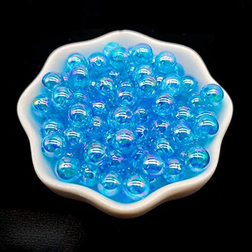 Cuentas espaciadoras sueltas de cuentas acrílicas redondas de color de 4/6/810mm, cuentas espaciadoras sueltas para hacer joyas, pulsera DIY, azul lago, 6mm 100 Uds