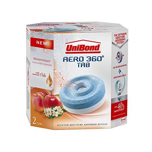 Absorbeur d'humidité énergisant UniBond Aero 360°, sensation de fruits, patte de recharge, lot de 2/2x 450g