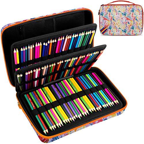 Large Pencil Storage Case - Holds 240+ Colored Pencils, Pencil Bag Compatible with Prismacolor Colored Pencils,Watercolor Pencils,Faber Castell Colored Pencils,ARTEZA Colored Pencils Set-Colorful