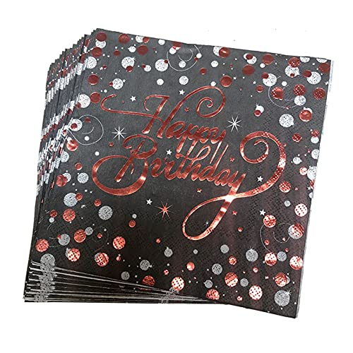 Jjwlkeji Vajilla De Fiesta 20pcs / Lot Rose Gold Birthday servilletas de Oro/Plata Papel Papel Servilletas de Papel para Feliz Cumpleaños Fiesta Fuentes (Color : Red Gold Black)