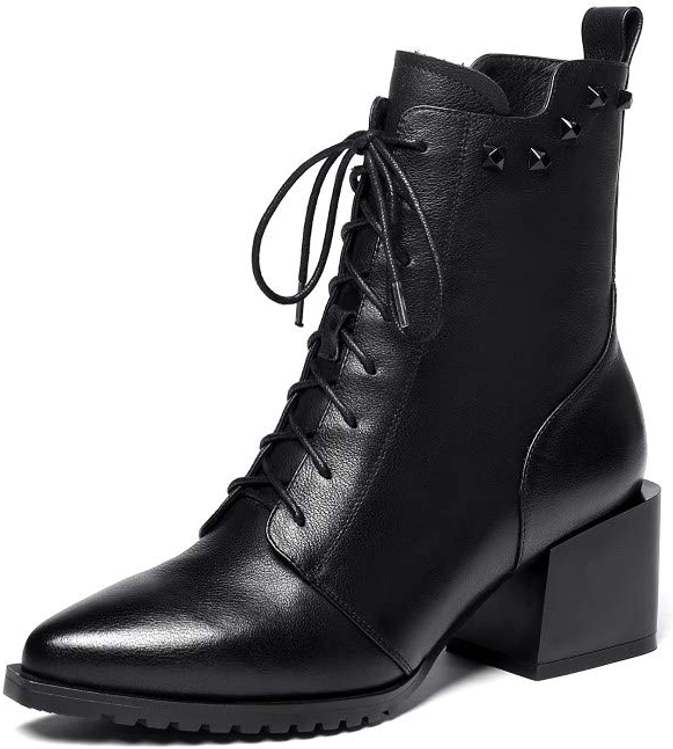 Nine Seven Women's Genuine Leather Round Toe Chunky Heel Handmade Side Zipper Lace Up Mid Calf Boots