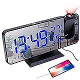 YUNYODA Despertador de proyección, Despertador Digital LED con Superficie de Espejo, Puerto de Carga USB, repetición, Alarma Dual, Radio FM, Modo de atenuación 3D, Temperatura y Humedad