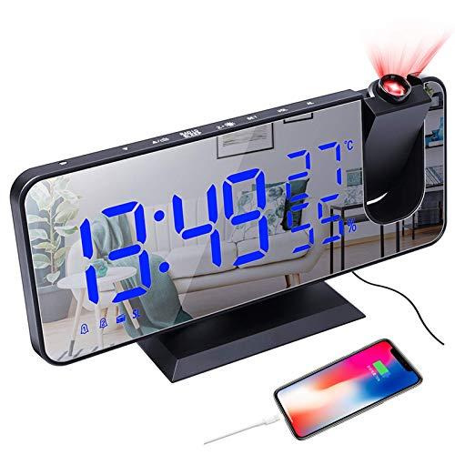 CAMPSLE Wecker Digital, Projektionsspiegel LED Digitaler Wecker mit USB Ladeanschluss, Projektionswecker mit 7,4 Zoll Bildschirm FM, 12 / 24H, Snooze, 3 Helligkeitsstufen, Hygrometer Thermometer