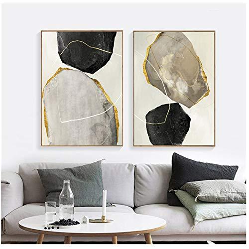 ZMFBHFBH Gemälde auf Leinwand Poster Marmor Schwarz-Weiß Abstrakte Malerei Wohnzimmer Nordische Dekoration Bilder 50x70cm (19.7