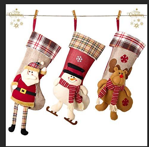 CUKENG Nikolausstiefel zum Befüllen, 3er Set,Weihnachtssocken Hängende Strümpfe auf Kamin, Schaufenster für Weihnachtsdeko
