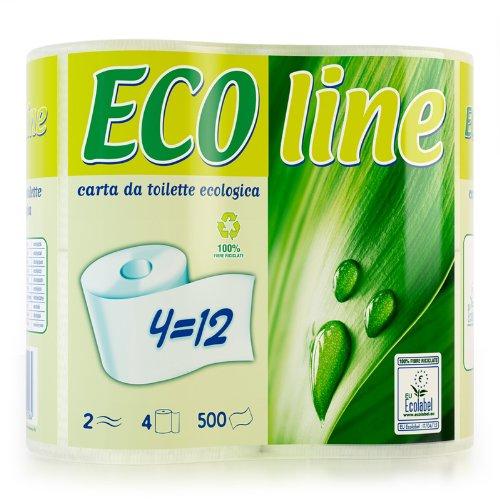 Lotto di Carta Igienica Ecologica etichetta Ecolabel (riciclata 100%) - Biodegradabile - anche per Camper, Barca, WC chimici, Fosse Biologiche - Lotto da 80 rotoli (20 confezioni) - Marca Ecoline, Qualità Byness
