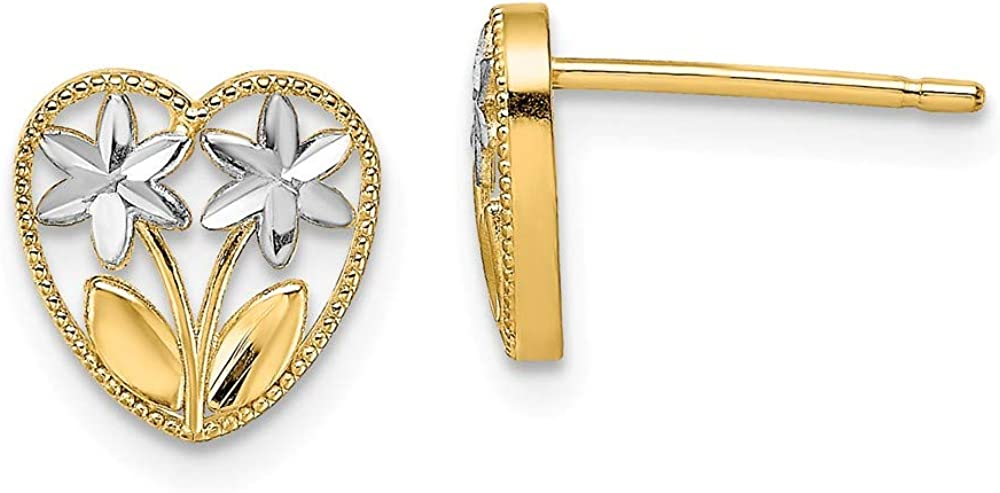14k Yellow Gold Flower Heart Post Stud Earrings Ball Button Gardening Fine Jewelry For Women Gifts For Her