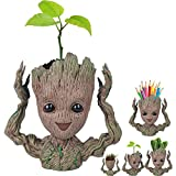 Black Deals Friday Deals Week-Creative Groot Planter Pot Guardians of The Galaxy Flowerpot Baby Groot Action Figures Cute Model Toy Pen Pot Pencil Holder Best Gifts for Kids (Hands Up Groot)
