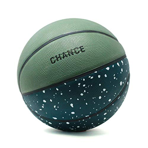 """Chance Premium Rubber Outdoor / Indoor Basketball (Size 5 Kids & Youth, 6 Women's Official, 7 Men's Official) (Size 27.5, 28.5, 29.5) (5 Kids & Youth - 27.5"""", Chomper - Speckled Green)"""